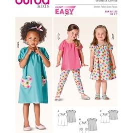 Burda střih červený č. 9438 dětské jednoduché šaty