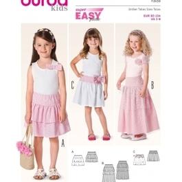 *Burda střih červený č. 9442 dětská jednoduchá sukně, tylová sukně