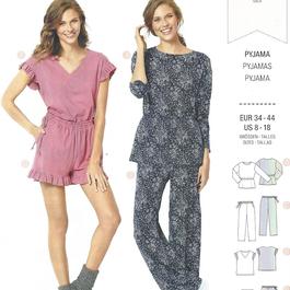 *Burda střih zelený č. 6261 dámské pyžamo ve dvojím provedení