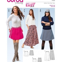 *Burda střih zelený č. 6586 jednoduchá sukně, áčková sukně, mini sukně, dlouhá sukně