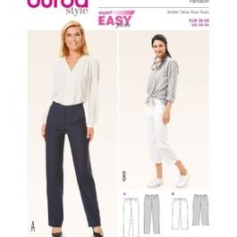 *Burda střih zelený č. 6681 jednoduché rovné kalhoty, tříčtvrteční kalhoty