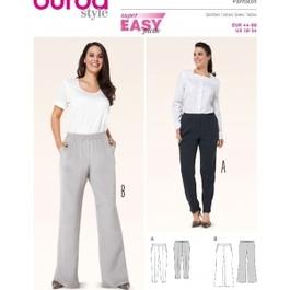 *Burda střih zelený č. 6859 jednoduché kalhoty s pasem do gumy pro plnoštíhlé