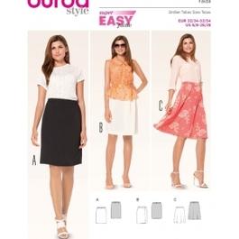 *Burda střih zelený č. 6937 jednoduchá rovná sukně, áčková sukně, zavinovací sukně