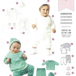 Burda střih zelený č. 9315 oblečení pro miminka - mikina, tepláčky, čepička a botičky