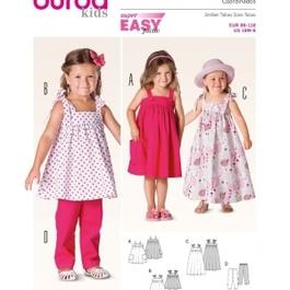 *Burda střih zelený č. 9437 jednoduché dětské šaty, dlouhé letní šaty, kalhoty
