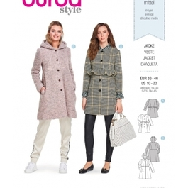 *Burda střih žlutý č. 6361 áčkový kabát, kabát s kapucí, kabát bez límce