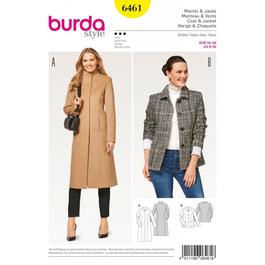 *Burda střih žlutý č. 6461 dlouhý kabát se stojáčkem, krátký kabát, sako