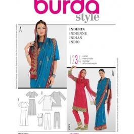 *Burda střih modrý č. 7701 indické sárí
