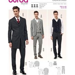 *Burda střih bílý č. 6871 pánský oblek - sako, vesta, kalhoty s puky