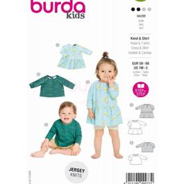 *Burda střih zelený č. 9277 na kojenecké tričko a dívčí šaty ve dvojím provedení