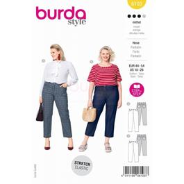 *Burda střih žlutý č. 6103 džínové kalhoty, 7/8 kalhoty pro plnoštíhlé