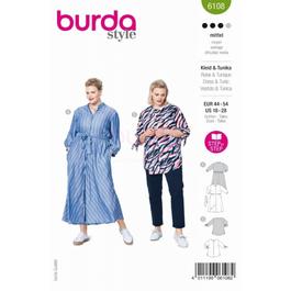 *Burda střih zelený č. 6108 košilové šaty, košile bez límečku pro plnoštíhlé