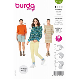 *Burda střih zelený č. 6109 mikina s náplety, mikinové šaty
