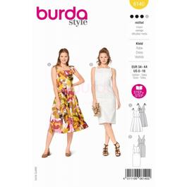 *Burda střih žlutý č. 6140 šaty na ramínka, šaty s kolovou sukní, pouzdrové šaty