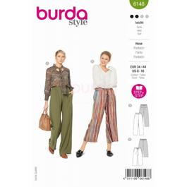 *Burda střih zelený č. 6148 volné kalhoty s gumou v pase, lněné kalhoty