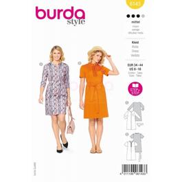 *Burda střih žlutý č. 6143 áčkové šaty s výstřihem na zip