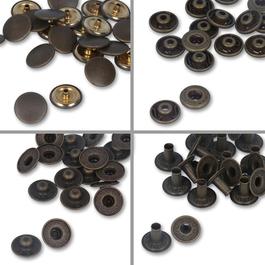 Knoflíky stiskací druky WUK Ms průměr 15mm (v.6/6) vysoký nýt 8,2mm 100ks/bal.