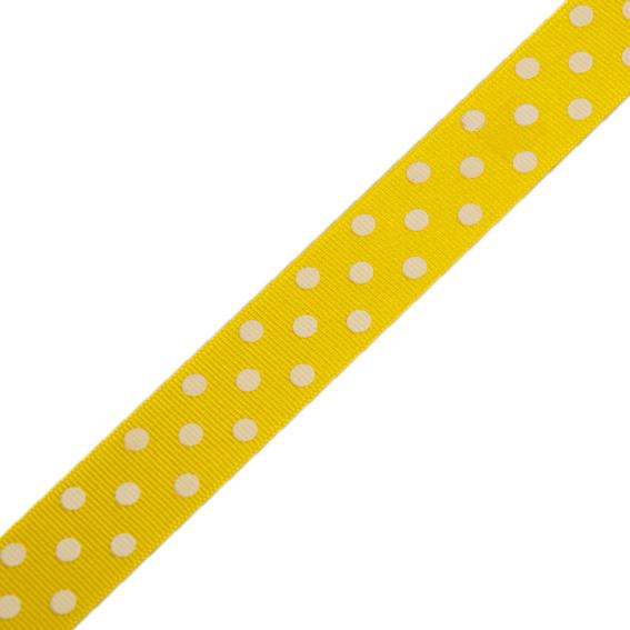 Stuha rypsová 127 305 258 š.25mm/20m žlutá s puntíky (cena / balení)