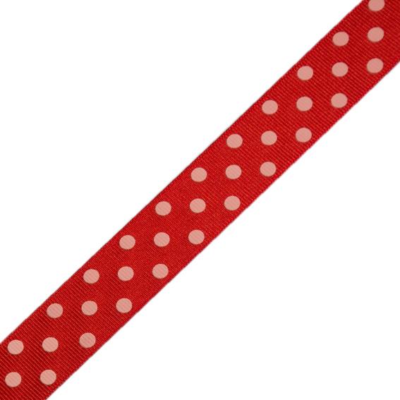 Stuha rypsová 127 305 258 š.25mm/20m červená s puntíky (cena / balení)