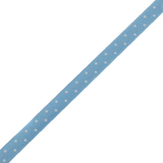 Stuha taftová tisk 117 236 098 š.9mm/10m sv.modrá, puntík (cena / balení)