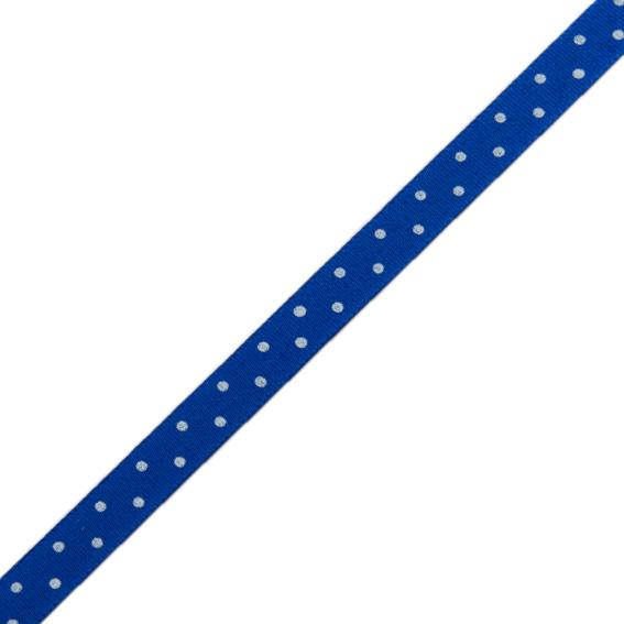 Stuha taftová tisk 117 236 098 š.9mm/10m modrá, puntík (cena / balení)