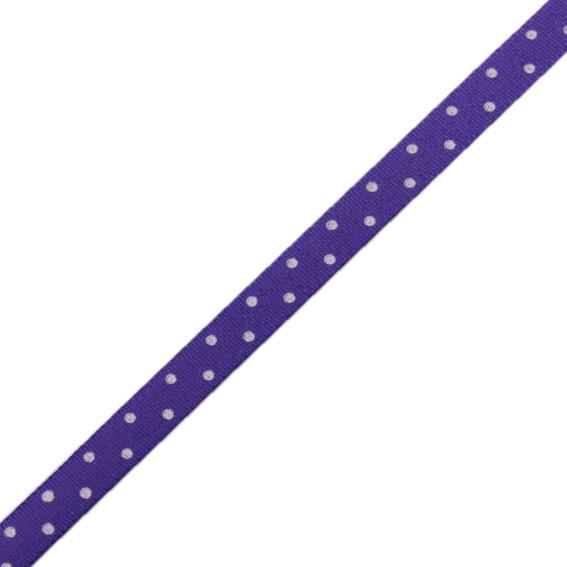 Stuha taftová tisk 117 236 098 š.9mm/10m fialová, puntík (cena / balení)