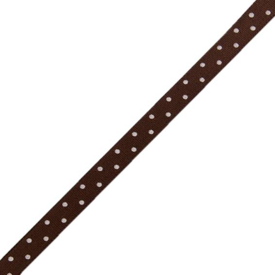 Stuha taftová tisk 117 236 098 š.9mm/10m hnědá, puntík (cena / balení)