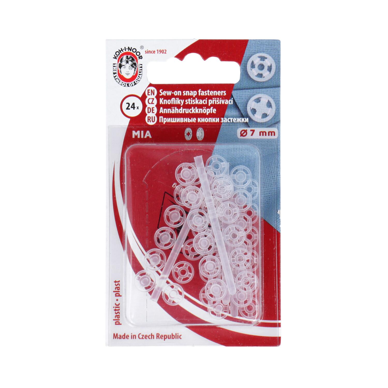 KOH-I-NOOR Knoflíky stiskací přišívací MIA plast prům. 7mm (v.1/2) 24ks ph.pl./karta transparentní (cena / karta)