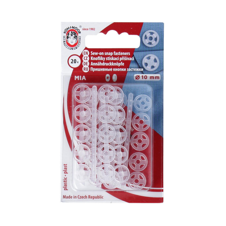 KOH-I-NOOR Knoflíky stiskací přišívací MIA plast prům. 10mm (v.3) 20ks ph.pl./karta transparentní (cena / karta)